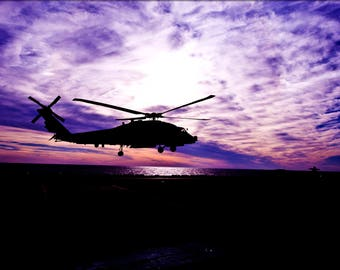 Poster, Many Sizes Available; Sh-60 Sea Hawk Helicopter At Sunset