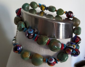Vintage Millefori Venetian Art Glass Necklace with Turquoise Nuggets