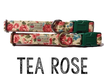 "Vintage Dog Collar - Floral Dog Collar - Girl Dog Collar - Shabby Chic Dog Collar - Antique Metal Hardware - ""Tea Rose"""
