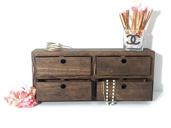 Wooden Jewelry Box Makeup Organizer Makeup Vanity Desk