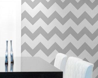 Classic Chevron Wall Stencil - Paint Large Chevron Stripes - DIY Wallpaper Modern Wall Decor