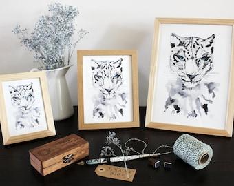 Leopard Watercolor Framed Print, Big Cat Painting, Big Cat Watercolour, Animal Wall Decor, Animal Watercolour Painting
