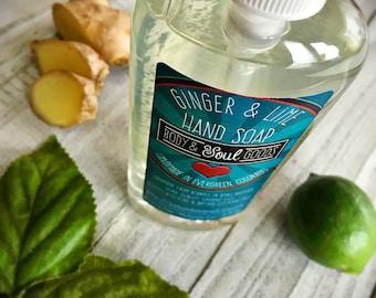 Liquid Hand Soap - Ginger Lime Liquid Soap - Handmade Soap - Guest Bathroom Soap - Kitchen Sink Soap - Natural Soap - Thick Liquid Soap