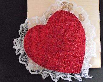 Sweet heart glitter hair clips!