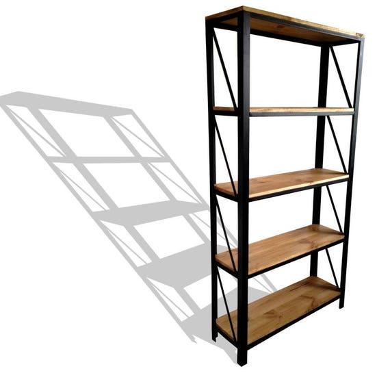 etag re acier et bois style industriel. Black Bedroom Furniture Sets. Home Design Ideas