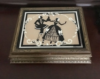 Vintage 1930's NRA Mirrored Silhouette Jewelry Box Romantic Dancing Couple