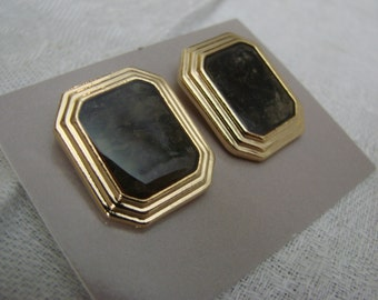 Pair of Vintage Avon New in Box Gold Tone Park Avenue Pierced Earrings with Surgical Steel Posts