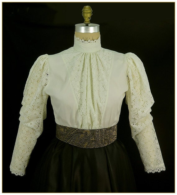 Victorian Blouses, Tops, Shirts, Vests Ivory Broadcloth and Lace Victorian Blouse Size Medium $49.00 AT vintagedancer.com