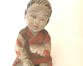 Vintage Asian Boy Statue Figurine - Rustic Pottery Clay- Marked Hong Kong 71-407 #213