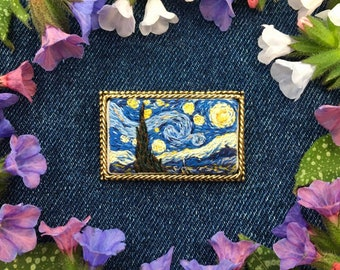 Hand Embroidered Starry Night Brooch// Miniature Hand Embroidery Pin