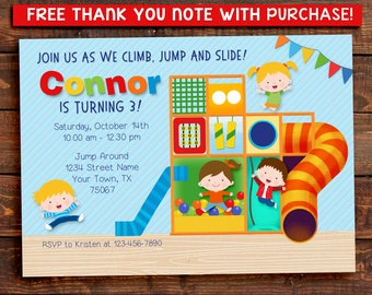 Indoor Playground Party Invitation. Jungle Gym. Digital Printable.  FREE THANK YOU Card!!
