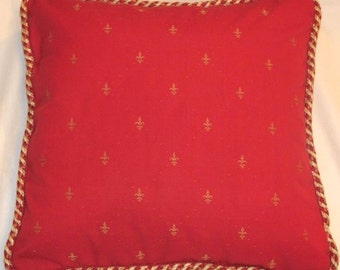 Country French Fleur De Lis Pillow Cottage Red Gold Provence Provencal Toile Check