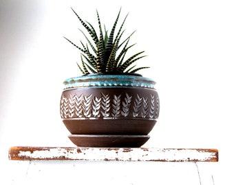 Handmade Planter, MADE TO ORDER, Flower Pot, Houseplant Planter, Wheel-Thrown Planter, Dark Brown Stoneware