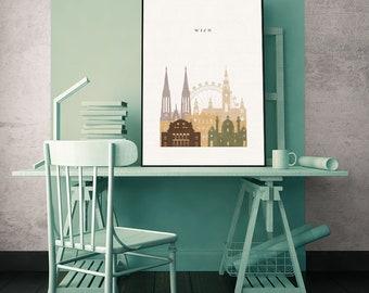 Vienna City Map Print Color Austria Wall Art Prints Europe Home Decor Bedroom Gift Ideas