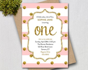 Pink and Gold First Birthday Invitation, Pink Gold Glitter ONE Printable Digital Invitation, 1200