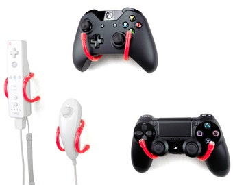 Wall Clip - Xbox, PlayStation, Wii, and Retro Game Controller Organizer - 4 Pack, Red