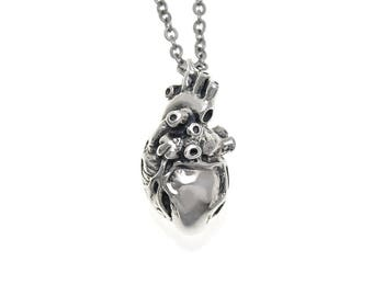 Sterling Silver Anatomical Heart Necklace, Anatomically Correct Pendant