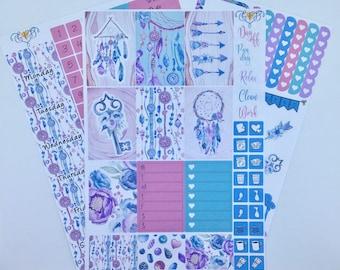 Boho Dreamcatcher Happy Planner Weekly kit, Sticker kit,  HP Planner stickers, Feather planner kit, Weekly kit,