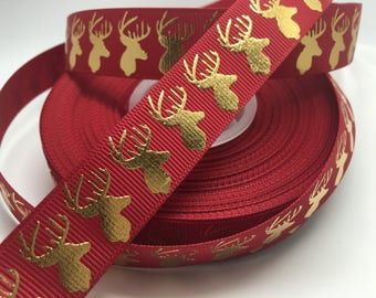 "7/8"" Gold Foil Christmas Deer on red grosgrain sold by the yard"
