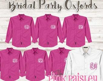 Monogrammed Oxford Bridesmaid Shirts   Bridal Party shirts   Wedding Day Shirts   Monogrammed Button Up   Getting Ready Shirts   Set of 7