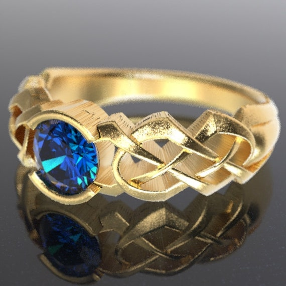 Gold Celtic Blue Sapphire Engagement Ring With Dara Knot Design in 10K 14K 18K or Palladium, Made in Your Size Cr-414