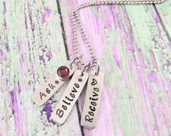 Ask Believe Receive Handstamped Bar Necklace Law Of Attraction Positive Energy Necklace Postitive Quotes Metaphysical Awake My Soul