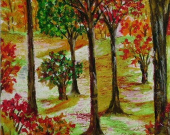 Autumn Landscape, Small Drawing, Original Oil Pastel Art, Wall Art, Nature Art, Home Decor, Tree Drawing, Oil Pastel Landscape,  Tree Art