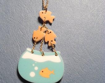 Bowl of Goldfish Necklace