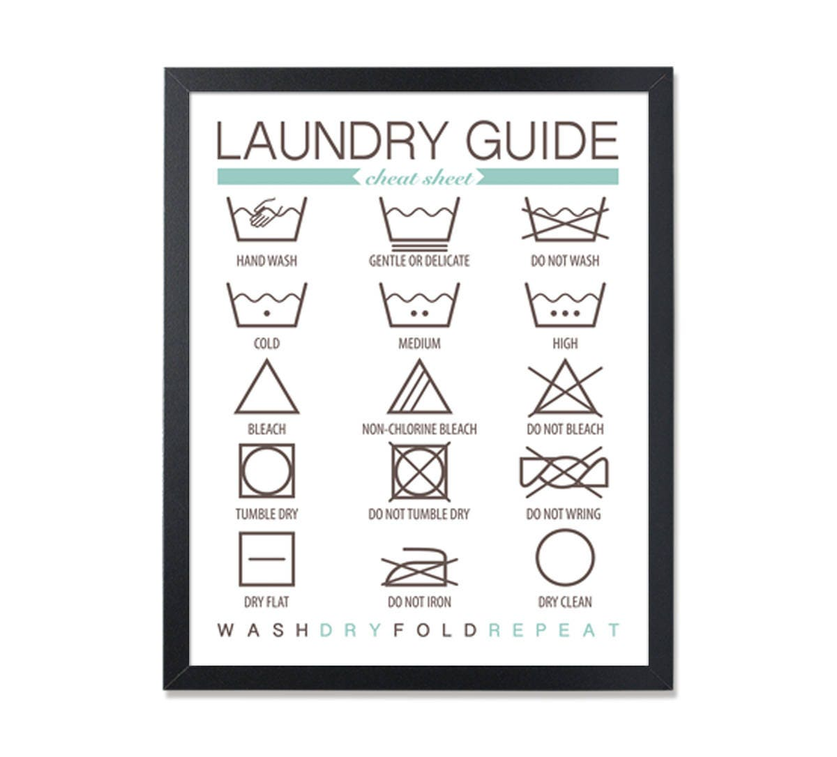 Laundry Symbols Wall Art Laundry Guide Wall Art Laundry Instructions Laundry Symbols