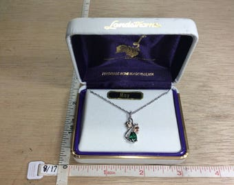 "Vintage 18"" Landstrom's 925 Sterling Silver 2.4g 12K Gold Overlay Green Stone May Necklace In Box Used"