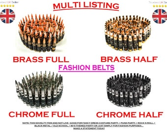 BRASS (Half) Bullet Belt - REAL/GENUINE - Goth / Punk / Rock n Roll / Black Metal / Fancy / Costume / Novelty / Heavy / Army / Ammo / Emo