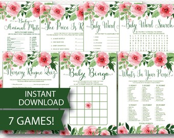 Floral Baby Shower Game Pack Instant Download 7 Shower Games Pretty Pink Watercolor Chic Cottage Rose Flowers  printable Modern pretty B126