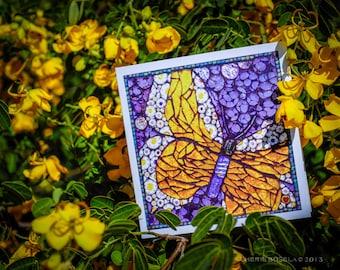 Blank Greeting Card - Golden Sunlight Butterfly mosaic