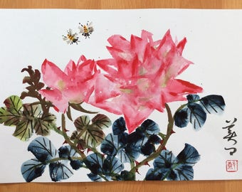 Original Chinese Painting-Flower and Insect(Rose and Bee)