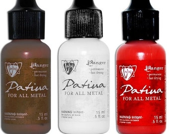 EARTH, MARBLE or GARNET Patina Paint Vintaj by Ranger Ink For Metals Garnet Red, Marble White, Earth Brown
