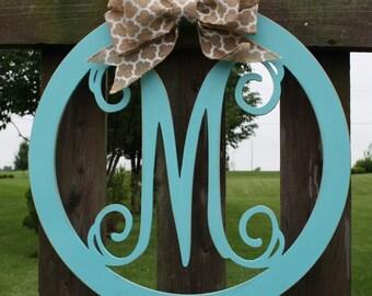 Wood Circle Initial Door Hanging/Wall Decor-wedding gift, initial door hanging, shower gift, front door decor
