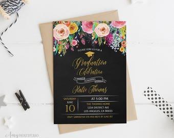 Graduation Invitation, Graduation Party Invite, Floral Chalkboard Graduation Invitation, PERSONALIZED, Digital file, #G01