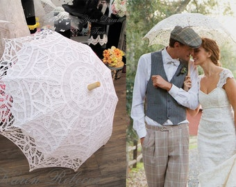 Special Offer Battenburg Lace Vintage Umbrella Parasol For Bridal Bridesmaid Wedding