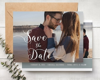 Save The Date Template - Engagement Announcement Card Photoshop Template  SAVE THE DATE 005
