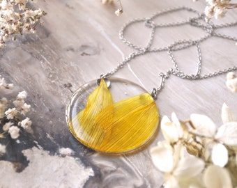 Silver Sunflower Petal Necklace Pressed Flower Jewelry Botanical
