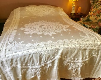 Vintage Bedspread / Satin Chenille Queen Bedspread / 1950s Chenille Bedspread / Hollywood Glam Bedspread