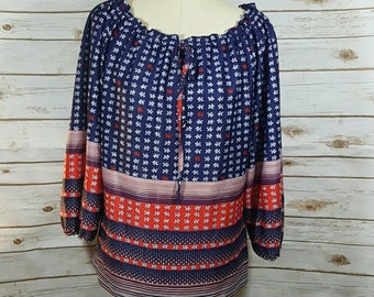60's Navy and red patterened peasant blouse, Large