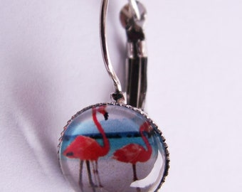 """Cabochon-ear jewellery, earrings, wires, """"flamingos on the Beach"""""""