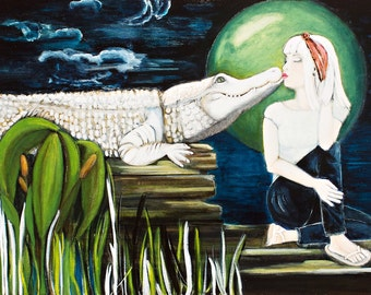 White Alligator, The Kiss, Print of the  Original Painting