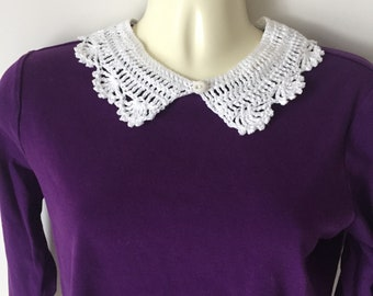 Cotton crochet collar, Peter Pan collars, neck accent, crocheted necklace