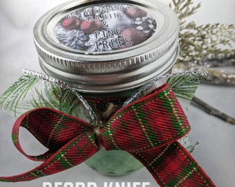 Winter Cabin and Pine Trees  Soy Candle Limited Edition 8oz  Candle Hand Poured Holiday Scented Candle 12% discount for Bitcoin
