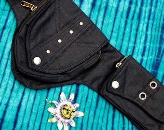 Festival belt - Black cotton belt - Gipsy pockets belt - Party 's belt