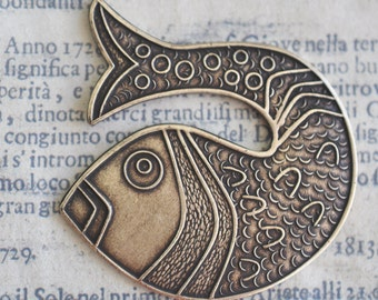 Fish Brass Stamping, Brass Ox, Nautical Jewelry, Summer Jewelry, Brass Fish, Scrapbooking, Jewelry Supplies Made in the USA