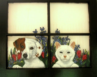 Personalized Mothers Day Gift, Dog Window, Custom Pet Portrait, Painted Cat, Recycled Art, Pet Loss Memorial, Glass Art, Wall Art, Pet Decor