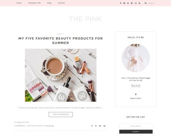 "Responsive pink Blogger Template ""The Pink"" - Premade blog design for Beauty bloggers - feminine Blog Theme Design"